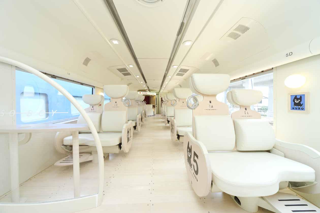 JR九州 D&S列車「あそぼーい!別府~阿蘇間復活 車内 白いくろちゃんシート