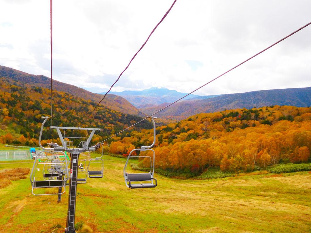 万座温泉スキー場の紅葉リフト