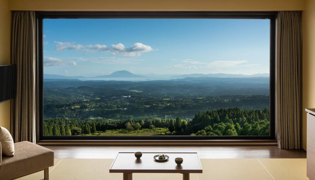 天孫降臨のパノラマビューが全客室から展開する星野リゾート 界 霧島 露天風呂付き客室もあり