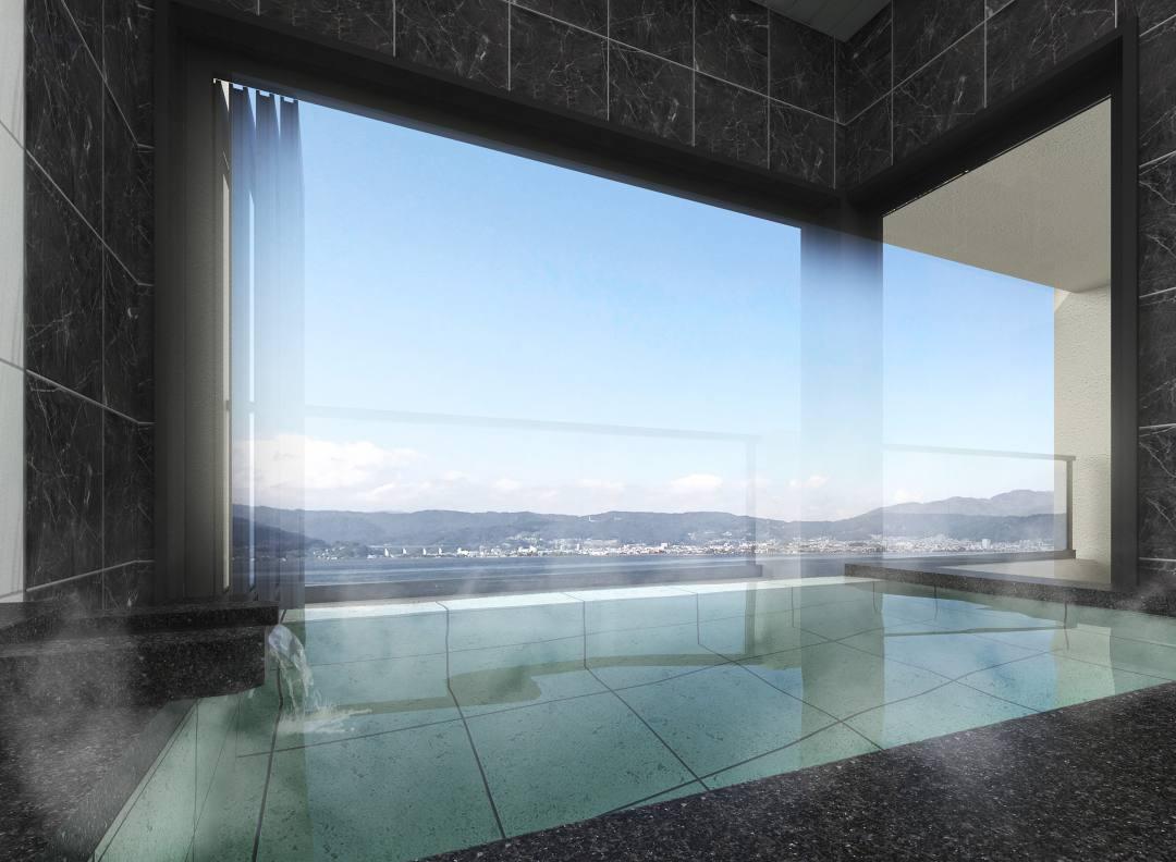 全室諏訪湖ビューの温泉付きかたくらシルクホテル